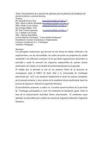 procedimiento de evaluacion de aptitudes para la admision de ...