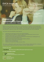 EVCA Institute - Finance and Administration Course