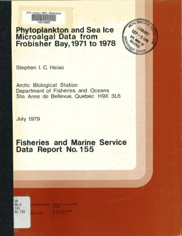 Fisheries and Marine Service -a 1 Data Report No. 155