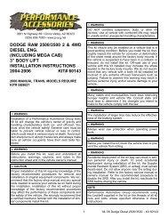 DODGE RAM 2500/3500 2 & 4WD DIESEL ENG. (INCLUDING ...