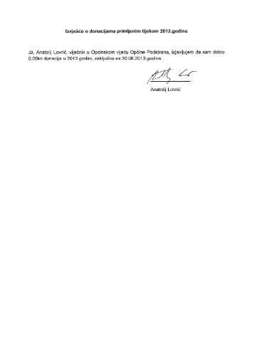 Izvješće o donacijama primljenim tijekom 2013. godine