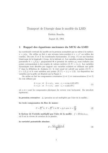 Transport de l'énergie dans le mod`ele du LMD - LMDz