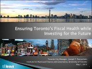 Ensuring Toronto's Fiscal Health while Investing for the Future