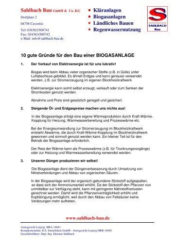10 gute Gründe für den Bau einer Biogasanlage - Sahlbach Bau ...