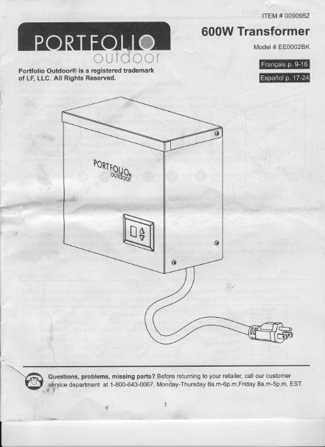 portfolio 600 watt transformer manual  falling water designs