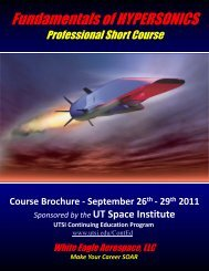 Fundamentals of HYPERSONICS - The University of Tennessee ...