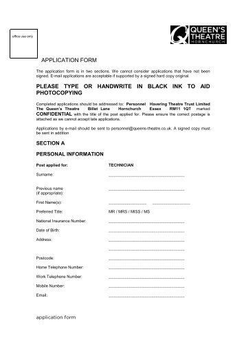 Job Application Form Please Write Clearly In Black Ink Or Type