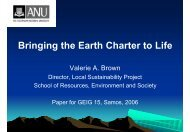 Bringing the Earth Charter to Life - Global Ecological Integrity Group