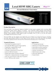 Lexel 85/95 SHG Lasers Deep UV - AMS Technologies