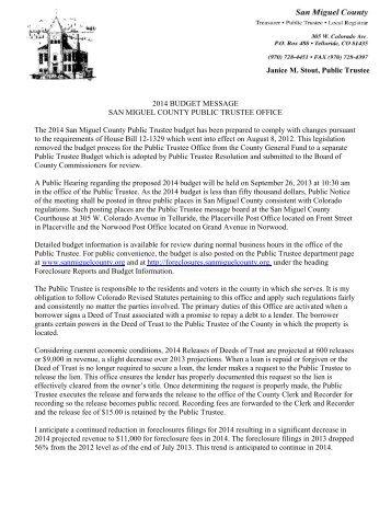 2014 Budget Notes - San Miguel Public Trustee - San Miguel County