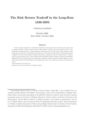 The Risk Return Tradeoff in the Long-Run: 1836-2003