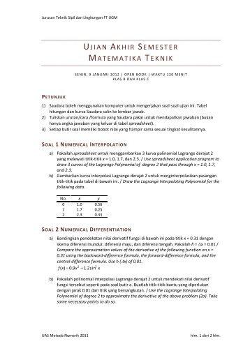 Penyelesaian Soal Uas Matematika Teknik 09jan12 Istiarto