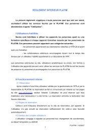 Réglement interne - BioSciences Gerland - Lyon Sud