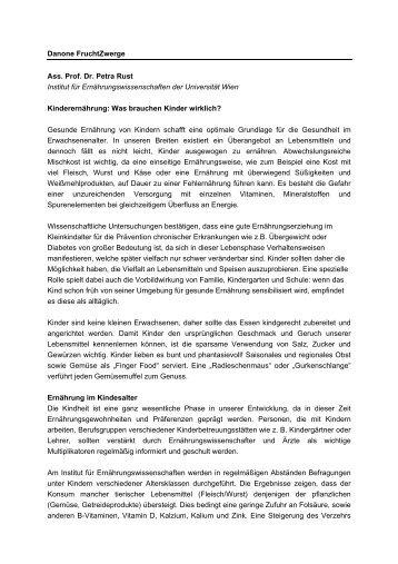 Danone FruchtZwerge Ass. Prof. Dr. Petra Rust Institut für ...