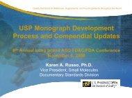 USP Monograph Development Process and Compendial Updates
