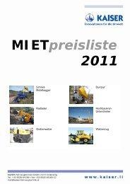 Mietpreisliste 2011
