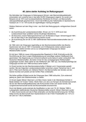 40-jährigen Bestehen - DLRG Ortsgruppe Sulzbach