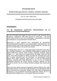NARZISSMUS - Arbeitsgemeinschaft Psychosoziale Gesundheit