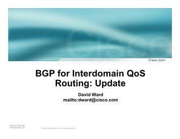 BGP for Interdomain QoS Routing - MIT - Communications Futures ...