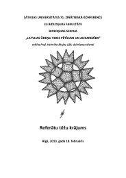 Referātu tēžu krājums - LU Bioloģijas fakultāte - Latvijas Universitāte