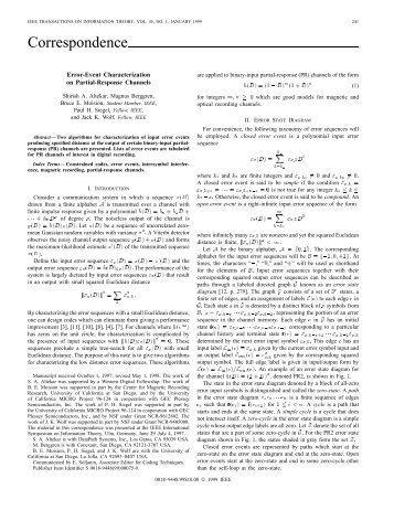 Error-event Characterization On Partial-response ... - STAR | UCSD