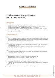 Publikationen und Vorträge (Auswahl) von Dr. Viktor Thurnher