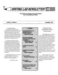 from the editor.... Posing Questions - The Writing Lab Newsletter