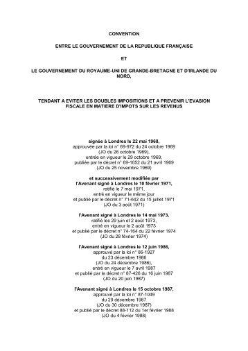 Convention avec le Royaume-Uni - Impôt sur le revenu