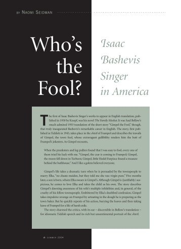 Who's the Fool?: Isaac Bashevis Singer in America - Yiddish Book ...