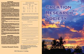 2013 Resource Catalog - The Creation Research Society