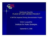 Ventura County PLACE OF LAST DRINK PROJECT Vicki Luquette ...
