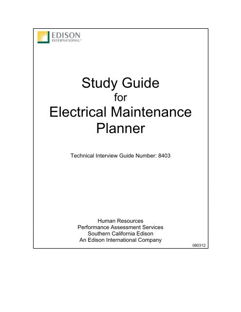 Maintenance Planner, Electrical Interview Guide (Test 8403)