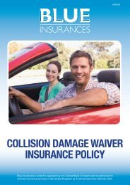 collision damage waiver insurance policy - Blue Insurances