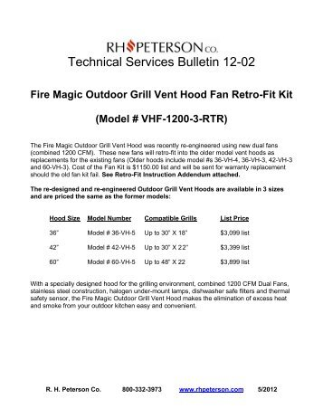 Technical Services Bulletin 12-02 - RH Peterson Co.