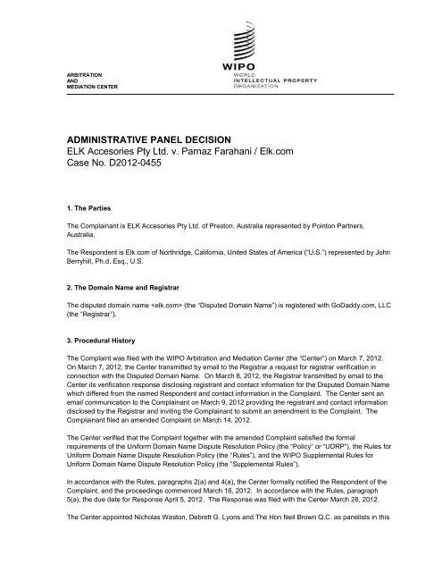 ADMINISTRATIVE PANEL DECISION ELK Accesories Pty Ltd. v ...