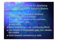 Recommendations for Assessing the Quality of the Nation's Waters
