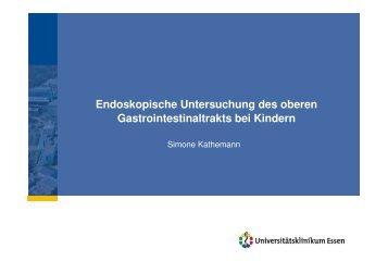 Endoskopische Untersuchung des oberen Gastrointestinaltrakts bei ...