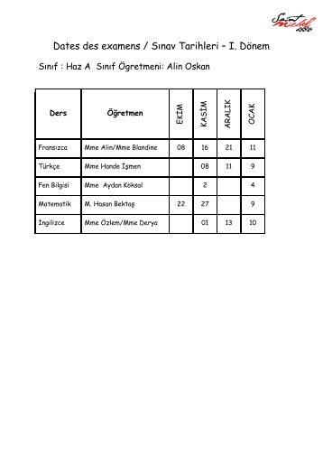 Dates des examens / Sınav Tarihleri – I. Dönem
