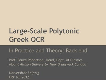 Large-Scale Polytonic Greek OCR - e-Humanities Home