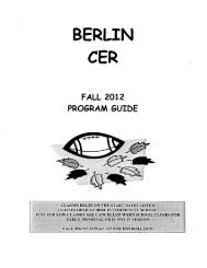 to view our Fall CER Brochure - Berlin Community School