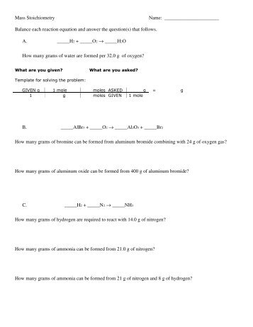 Mass Mass Stoichiometry Notes And Practice Problemspdf