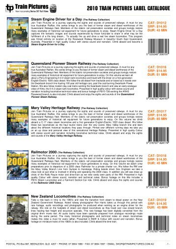2010 train PICTURES label CATALOGUE - Train DVD