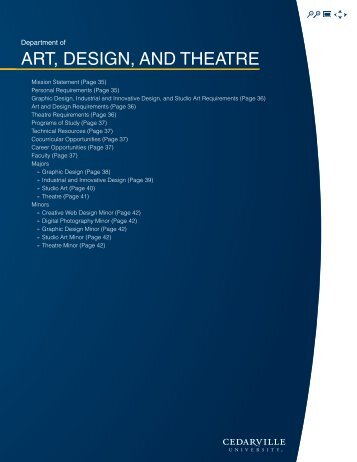 Art, Design, AnD theAtre - Cedarville University
