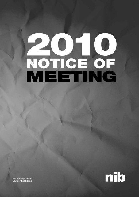 Notice of Annual General Meeting - nib