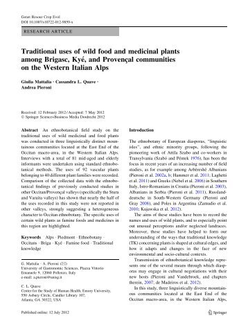 Traditional uses of wild food and medicinal plants ... - Etnobotanica