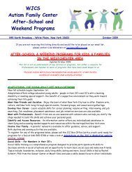 WJCS Autism Family Center After-School and Weekend Programs