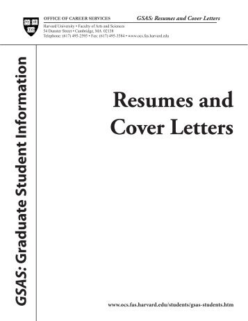 resumes and cover letters office of career services harvard