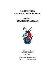fj brennan catholic high school 2010-2011 course calendar