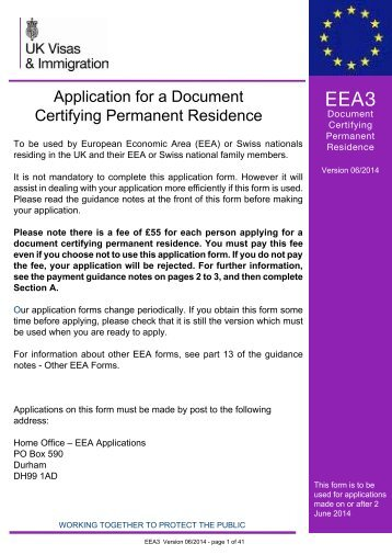 Form EEA3 - UK Border Agency - the Home Office