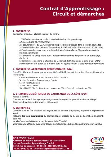 Notice pour le contrat d 39 apprentissage formulaires en ligne - Contrat d apprentissage chambre des metiers ...